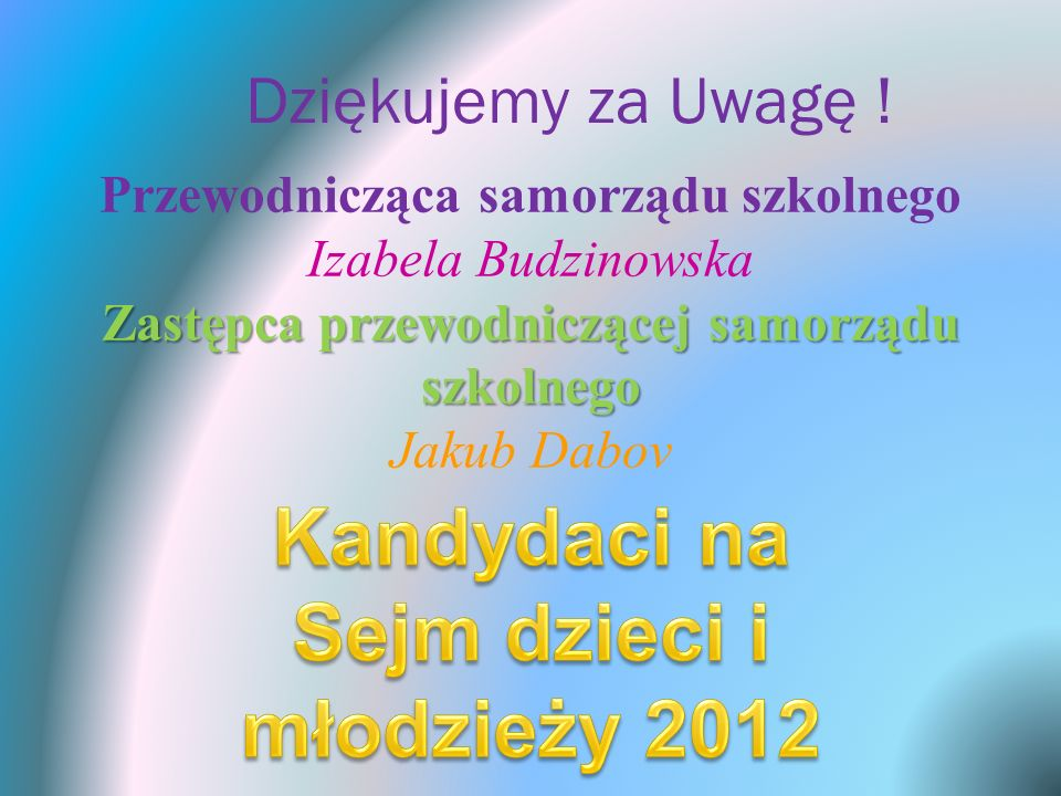 Kandydaci na Sejm dzieci i młodzieży 2012