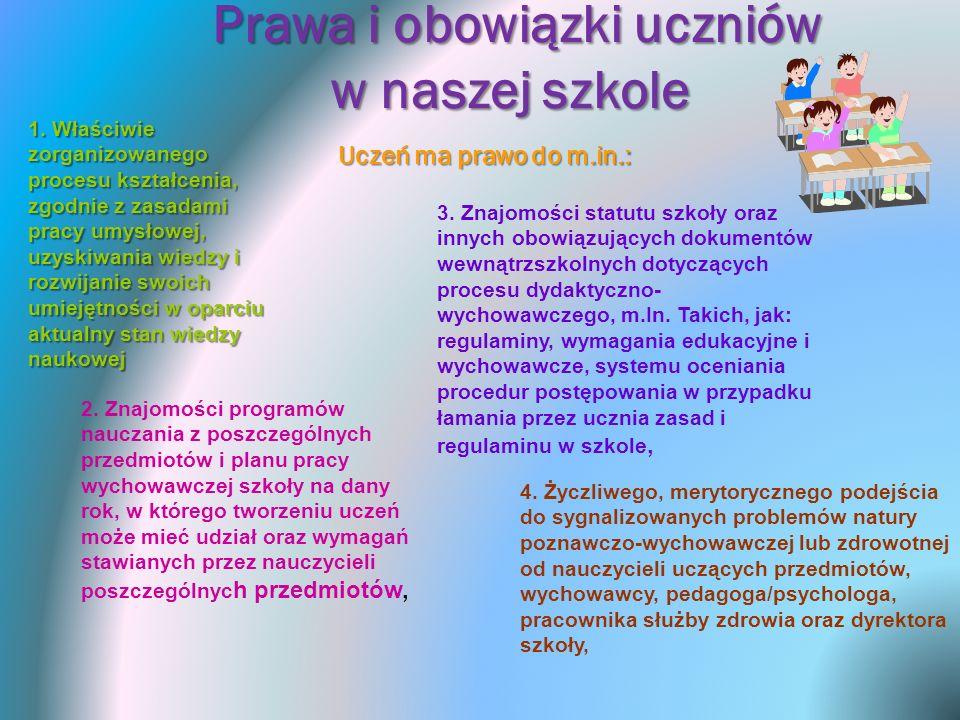 Prawa i obowiązki uczniów w naszej szkole