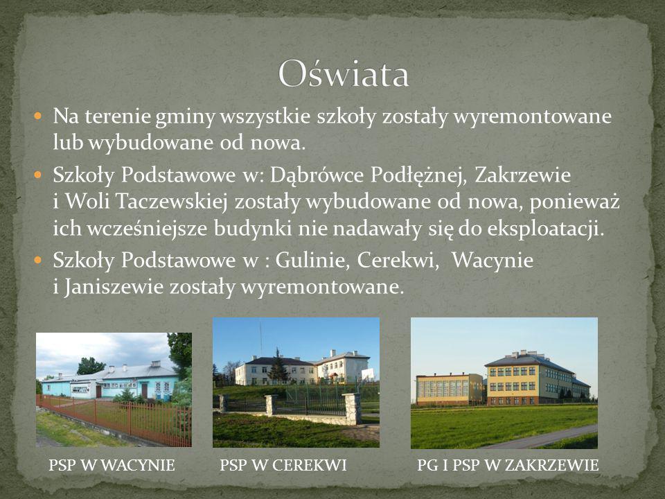 Oświata Na terenie gminy wszystkie szkoły zostały wyremontowane lub wybudowane od nowa.