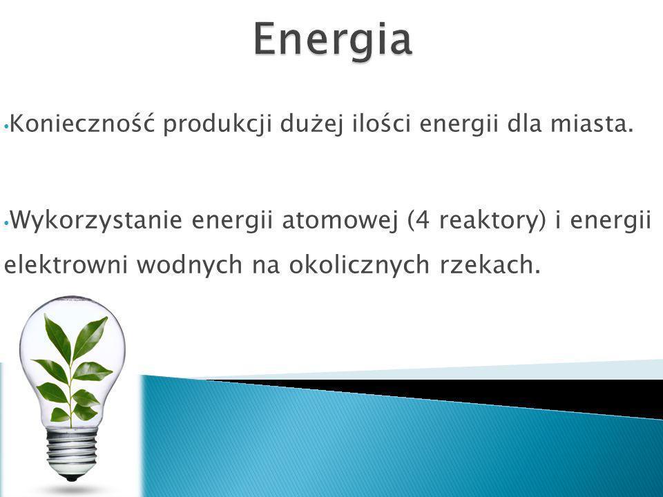 Energia Konieczność produkcji dużej ilości energii dla miasta.