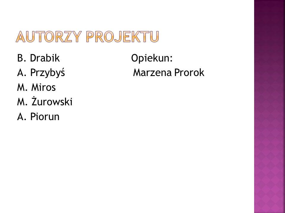 AUTORZY PROJEKTU B. Drabik Opiekun: A. Przybyś Marzena Prorok M. Miros M. Żurowski A. Piorun