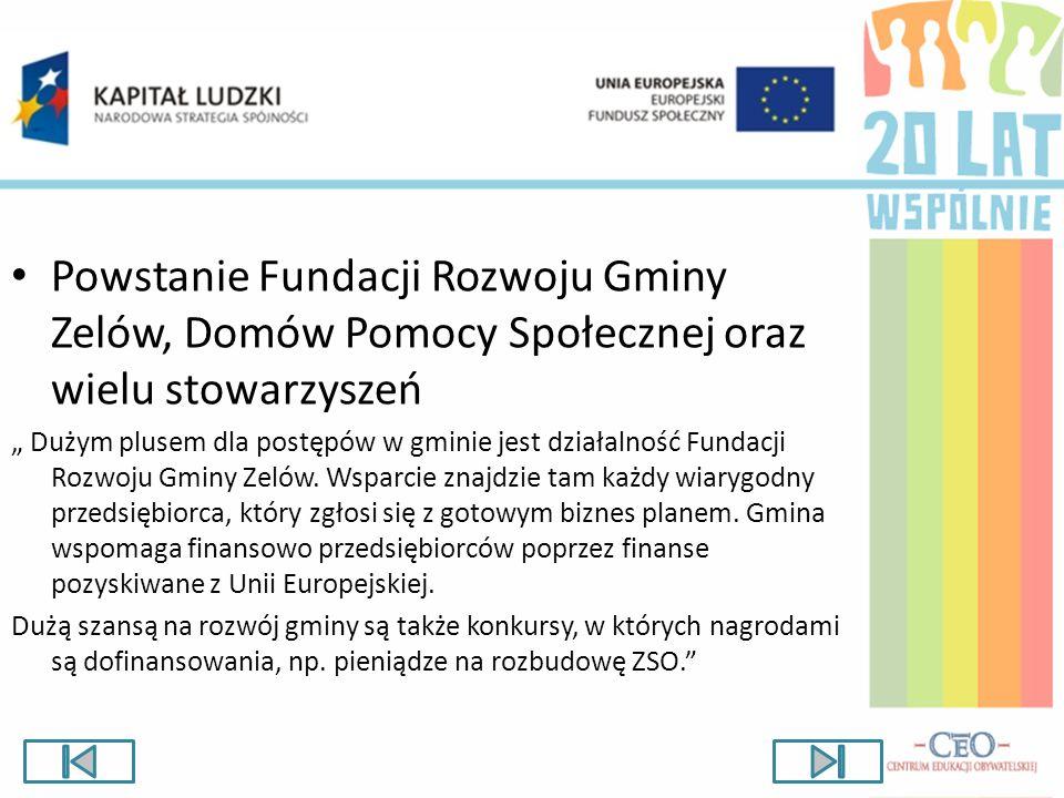 Powstanie Fundacji Rozwoju Gminy Zelów, Domów Pomocy Społecznej oraz wielu stowarzyszeń