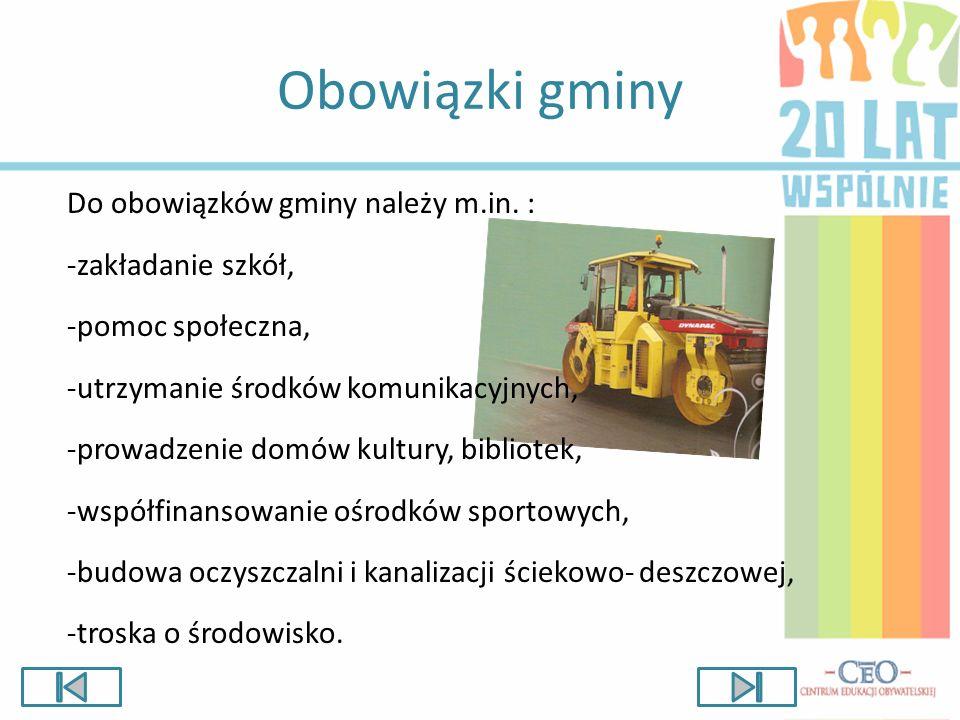 Obowiązki gminy Do obowiązków gminy należy m.in. : -zakładanie szkół,