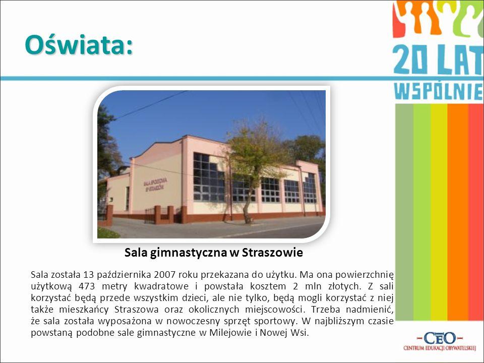 Oświata: Sala gimnastyczna w Straszowie