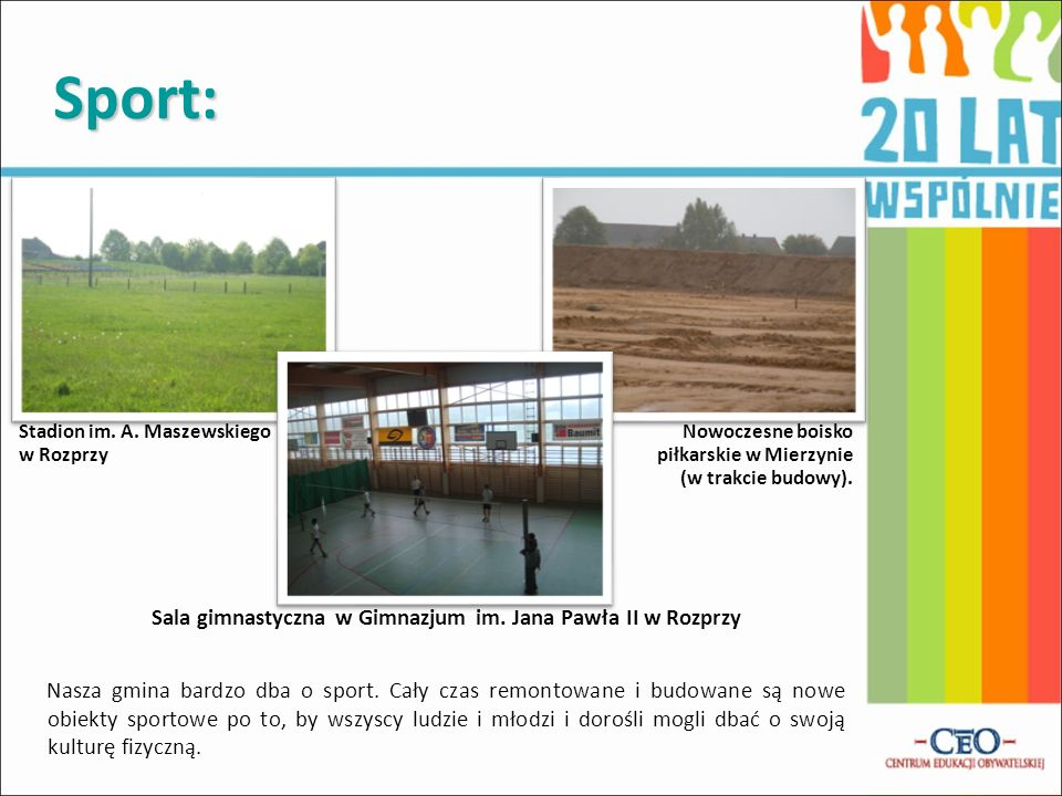 Sport: Stadion im. A. Maszewskiego. w Rozprzy. Nowoczesne boisko. piłkarskie w Mierzynie. (w trakcie budowy).