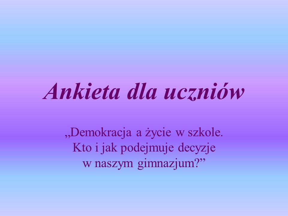 """Ankieta dla uczniów """"Demokracja a życie w szkole. Kto i jak podejmuje decyzje w naszym gimnazjum"""