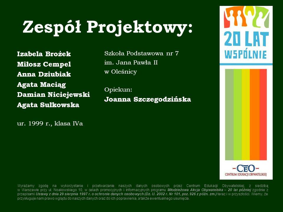 Zespół Projektowy: Izabela Brożek Miłosz Cempel Anna Dziubiak
