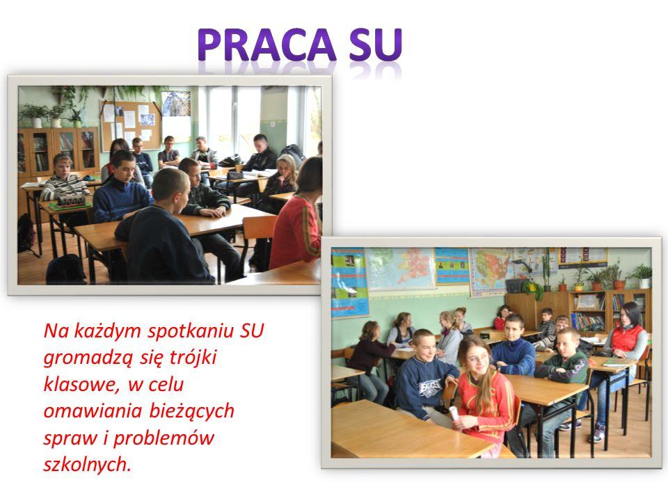 Praca su Na każdym spotkaniu SU gromadzą się trójki klasowe, w celu omawiania bieżących spraw i problemów szkolnych.