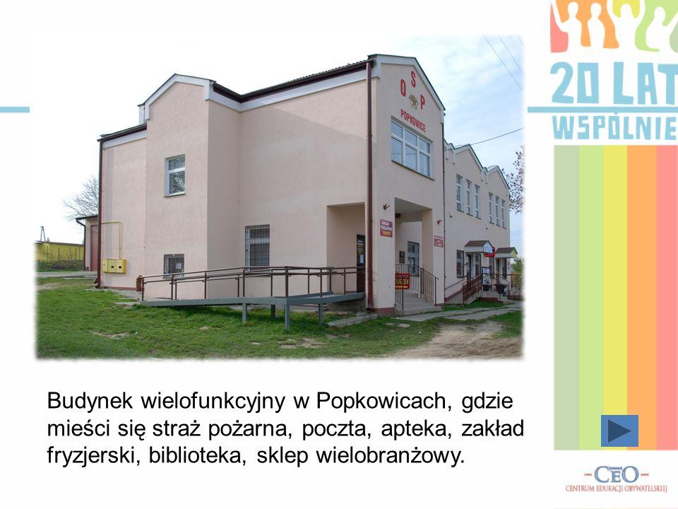 Budynek wielofunkcyjny w Popkowicach, gdzie mieści się straż pożarna, poczta, apteka, zakład fryzjerski, biblioteka, sklep wielobranżowy.
