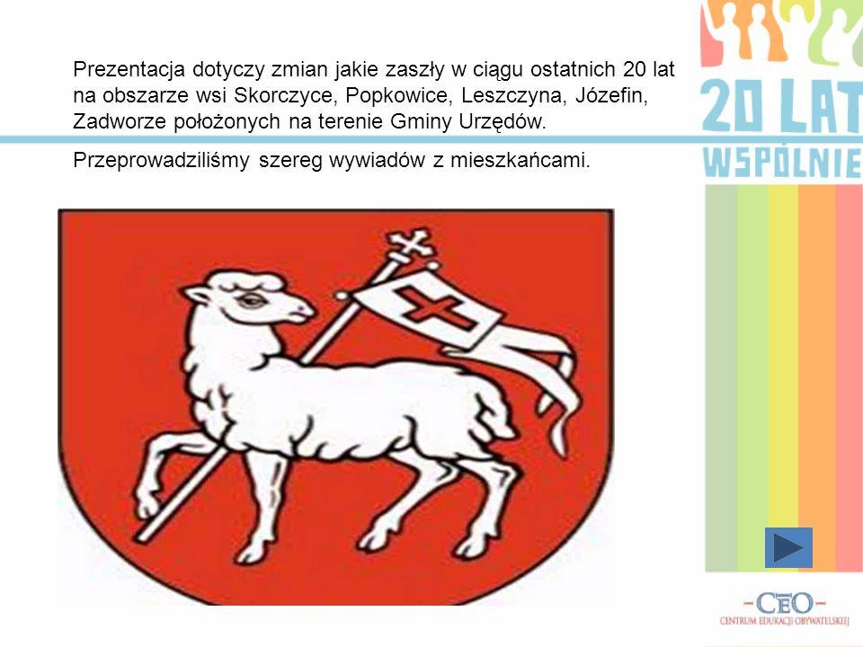 Prezentacja dotyczy zmian jakie zaszły w ciągu ostatnich 20 lat na obszarze wsi Skorczyce, Popkowice, Leszczyna, Józefin, Zadworze położonych na terenie Gminy Urzędów.