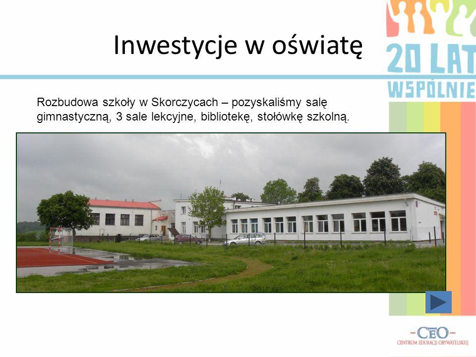 Inwestycje w oświatę Rozbudowa szkoły w Skorczycach – pozyskaliśmy salę gimnastyczną, 3 sale lekcyjne, bibliotekę, stołówkę szkolną.