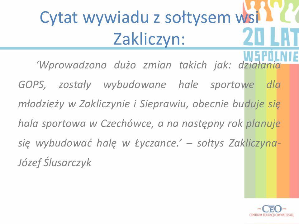 Cytat wywiadu z sołtysem wsi Zakliczyn: