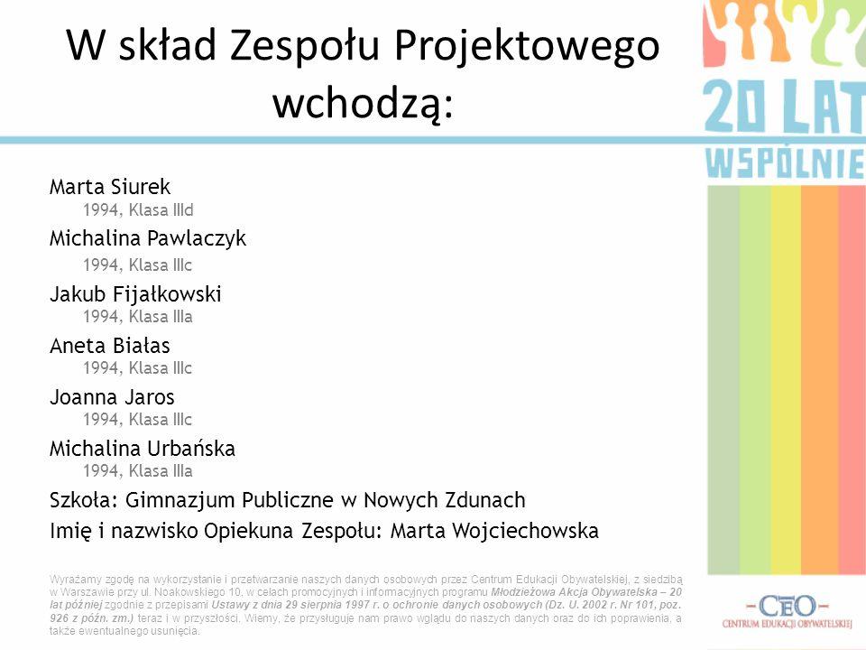 W skład Zespołu Projektowego wchodzą: