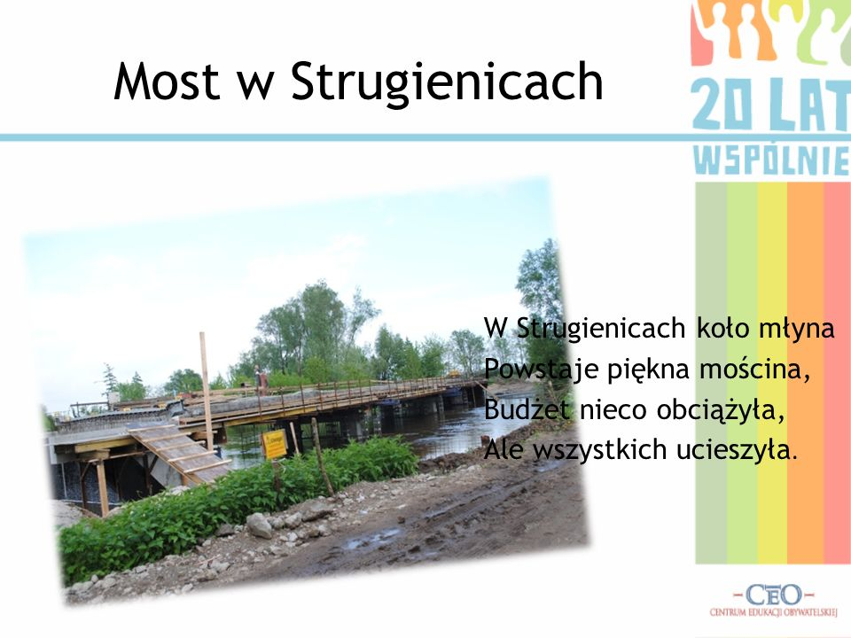 Most w Strugienicach W Strugienicach koło młyna Powstaje piękna mościna, Budżet nieco obciążyła, Ale wszystkich ucieszyła.