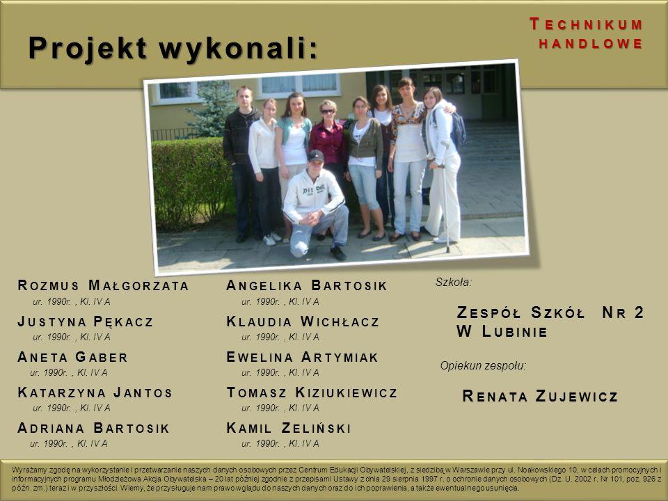 Projekt wykonali: Zespół Szkół Nr 2 Renata Zujewicz Technikum handlowe