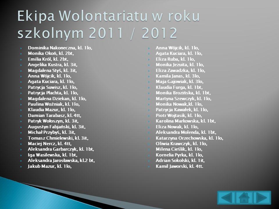 Ekipa Wolontariatu w roku szkolnym 2011 / 2012