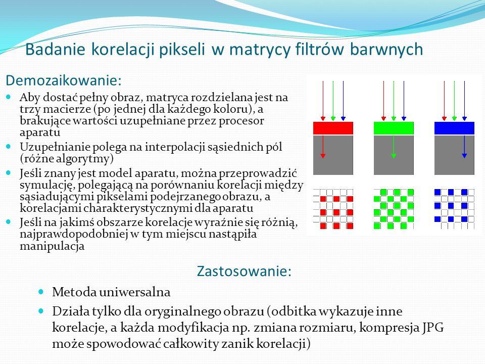 Badanie korelacji pikseli w matrycy filtrów barwnych