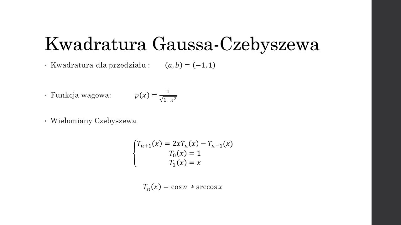 Kwadratura Gaussa-Czebyszewa