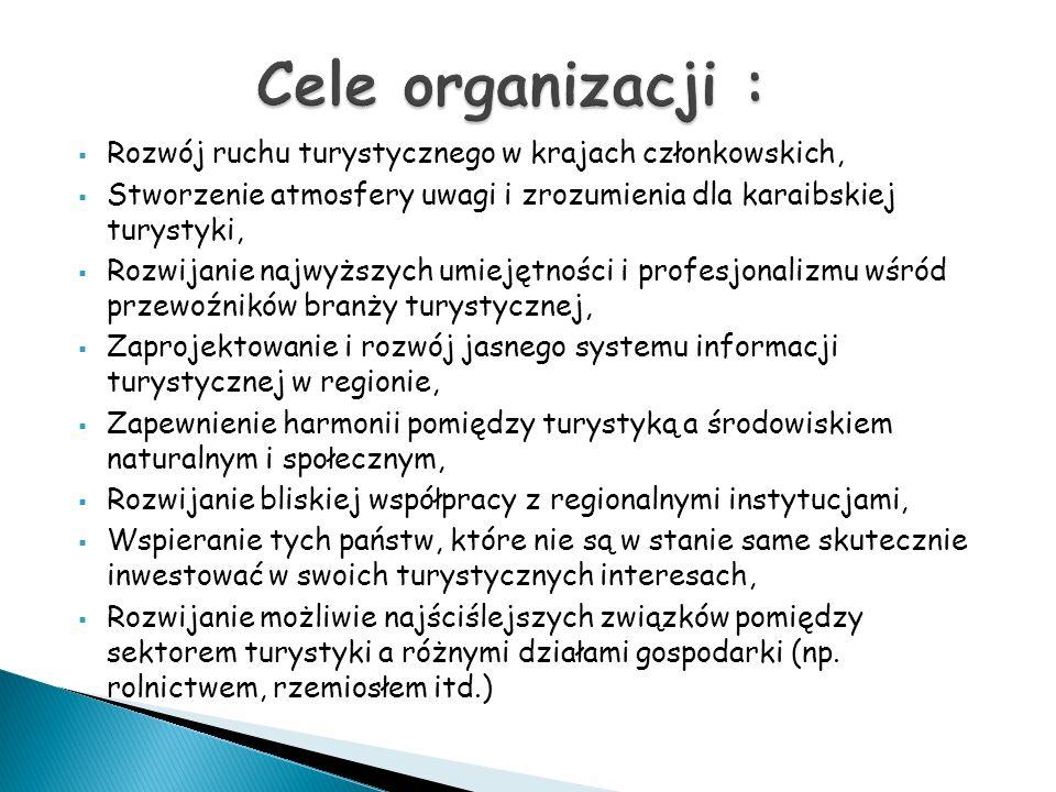 Cele organizacji : Rozwój ruchu turystycznego w krajach członkowskich,
