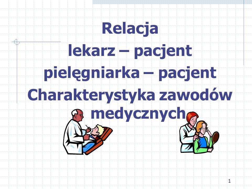 pielęgniarka – pacjent Charakterystyka zawodów medycznych