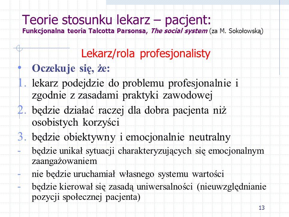 Lekarz/rola profesjonalisty