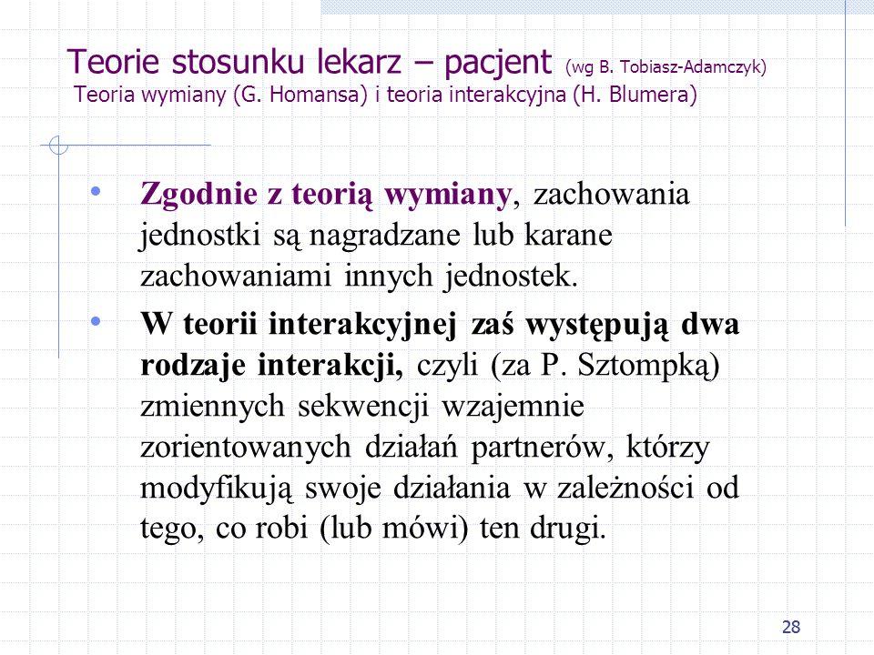 Teorie stosunku lekarz – pacjent (wg B