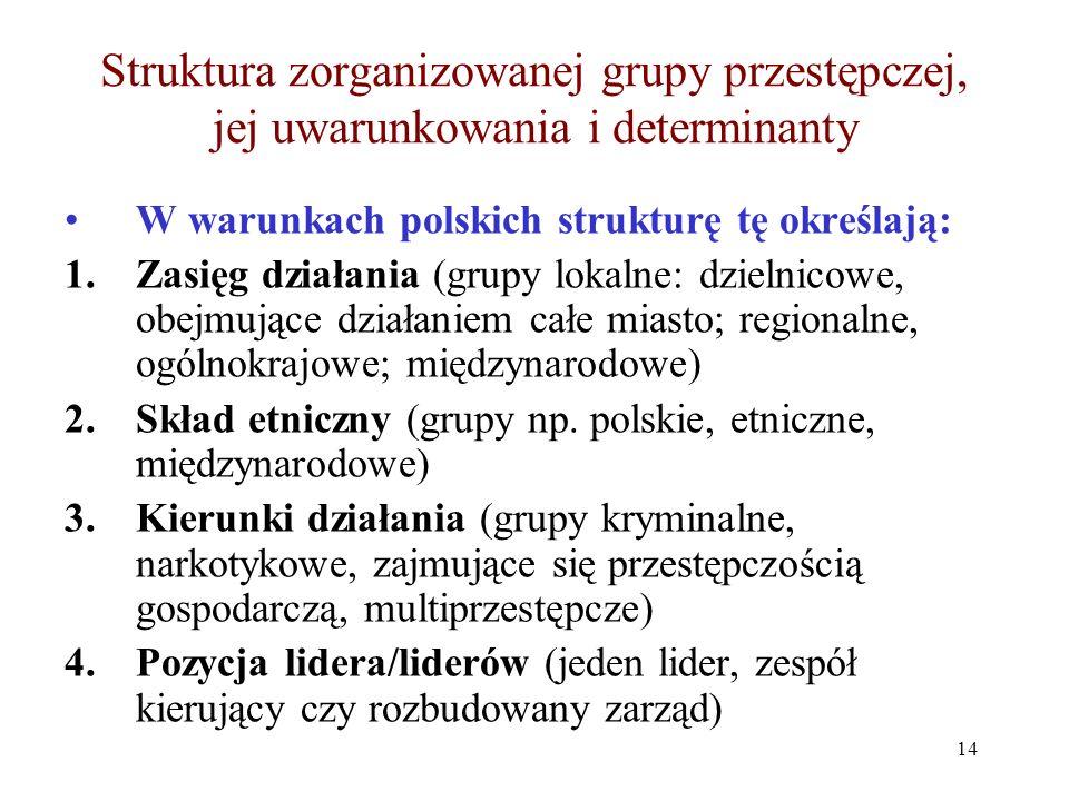 Struktura zorganizowanej grupy przestępczej, jej uwarunkowania i determinanty