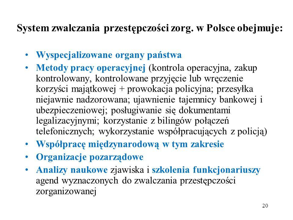 System zwalczania przestępczości zorg. w Polsce obejmuje: