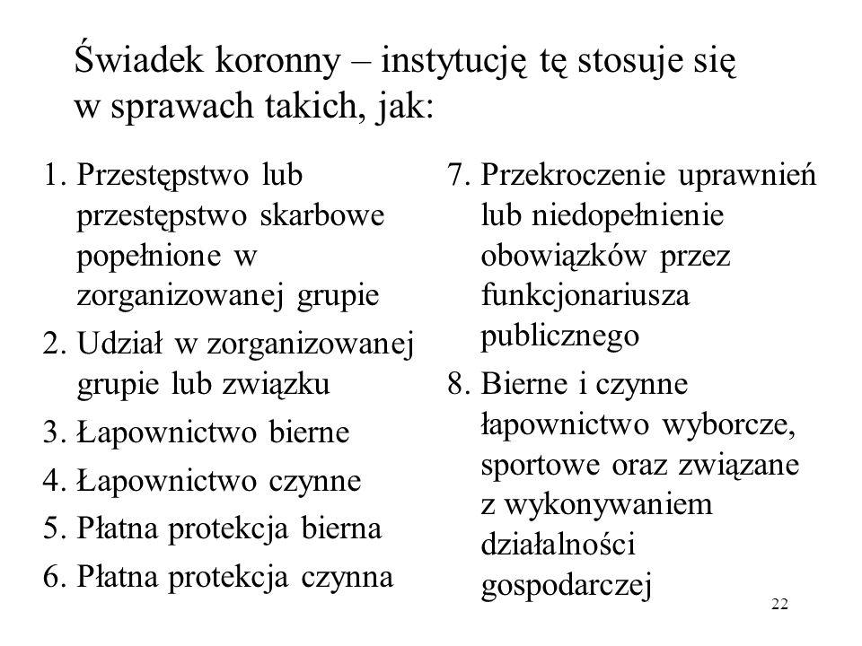 Świadek koronny – instytucję tę stosuje się w sprawach takich, jak: