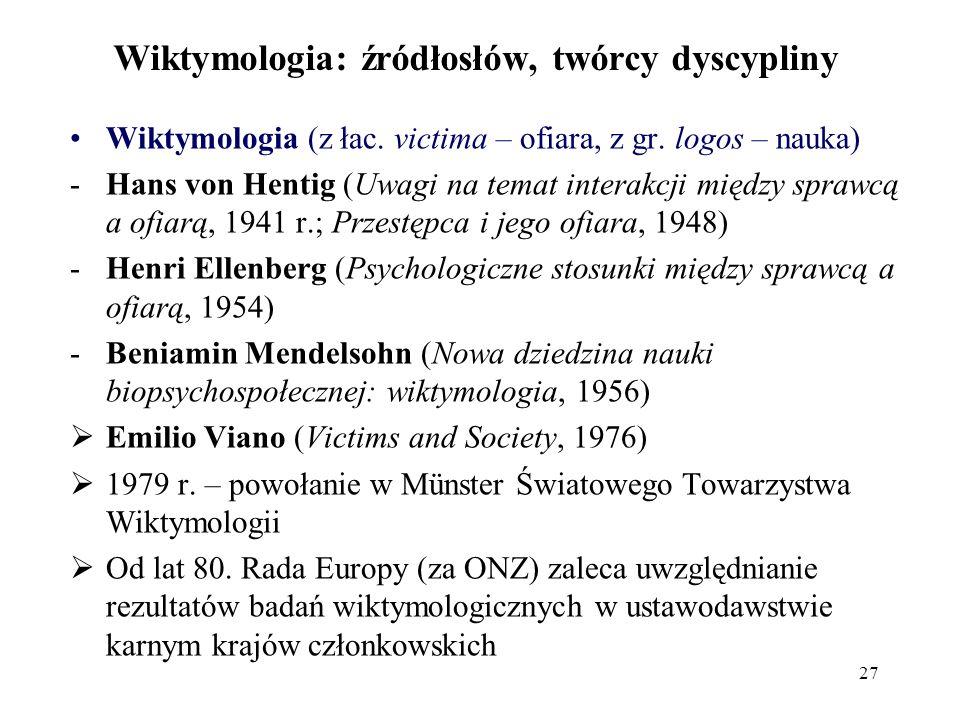 Wiktymologia: źródłosłów, twórcy dyscypliny