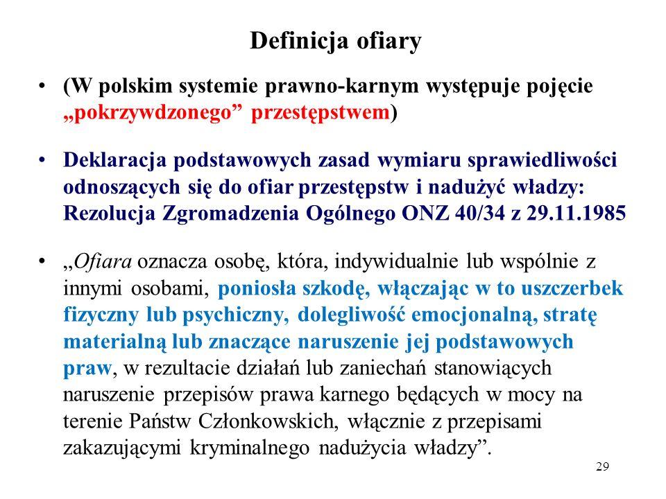 """Definicja ofiary (W polskim systemie prawno-karnym występuje pojęcie """"pokrzywdzonego przestępstwem)"""