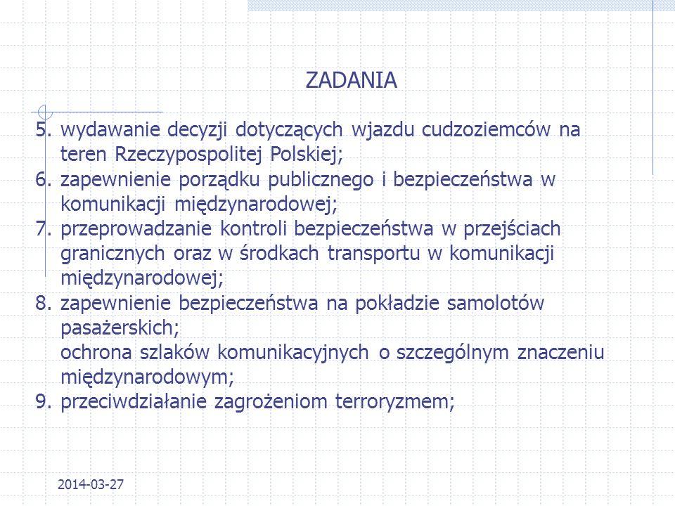 ZADANIA wydawanie decyzji dotyczących wjazdu cudzoziemców na teren Rzeczypospolitej Polskiej;
