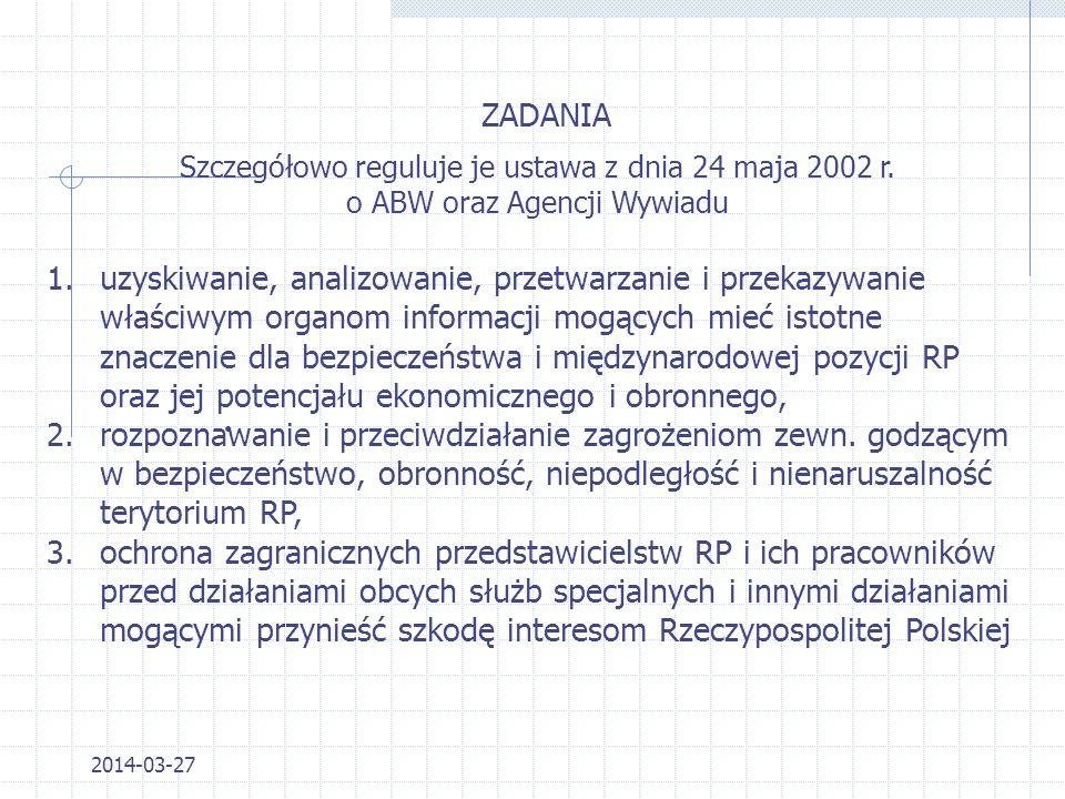 ZADANIA Szczegółowo reguluje je ustawa z dnia 24 maja 2002 r. o ABW oraz Agencji Wywiadu.