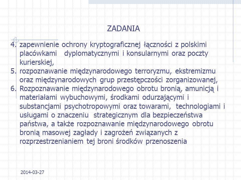 ZADANIA zapewnienie ochrony kryptograficznej łączności z polskimi placówkami dyplomatycznymi i konsularnymi oraz poczty kurierskiej,