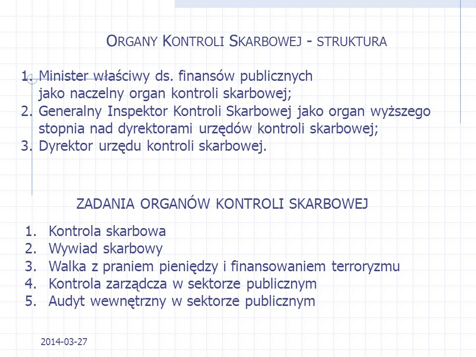 Organy Kontroli Skarbowej - struktura
