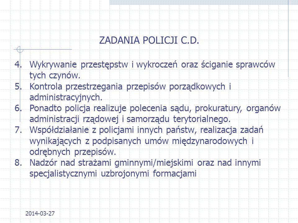 ZADANIA POLICJI C.D. Wykrywanie przestępstw i wykroczeń oraz ściganie sprawców tych czynów.