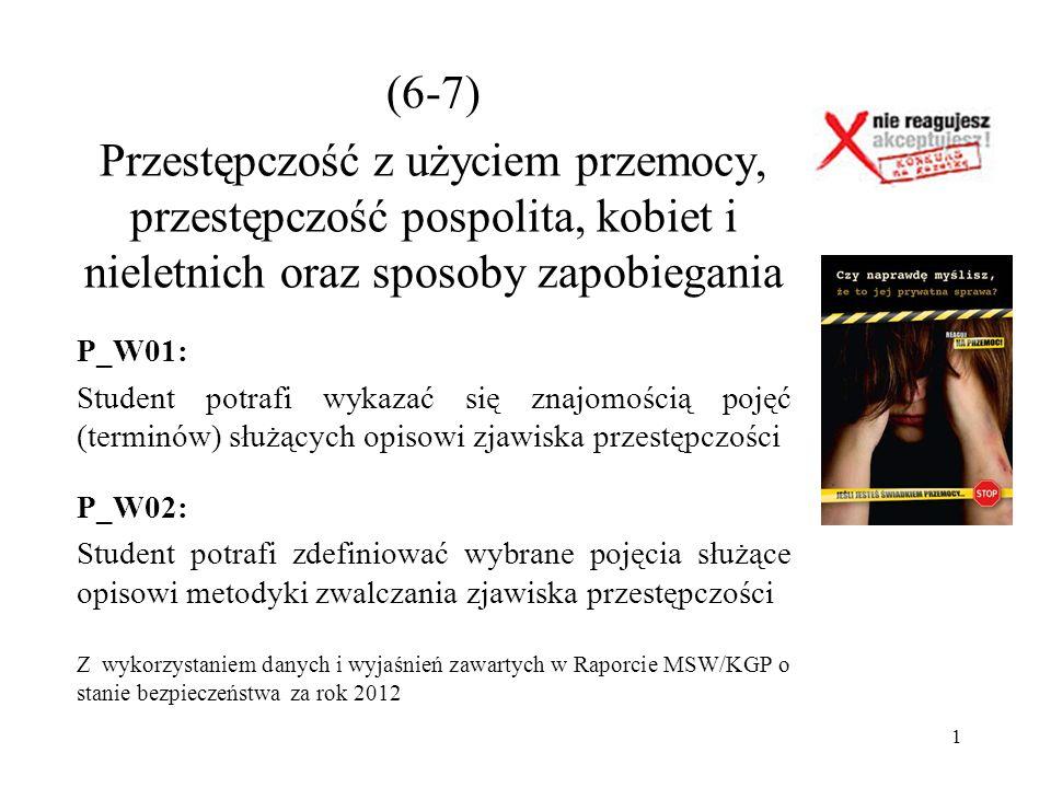 (6-7) Przestępczość z użyciem przemocy, przestępczość pospolita, kobiet i nieletnich oraz sposoby zapobiegania.