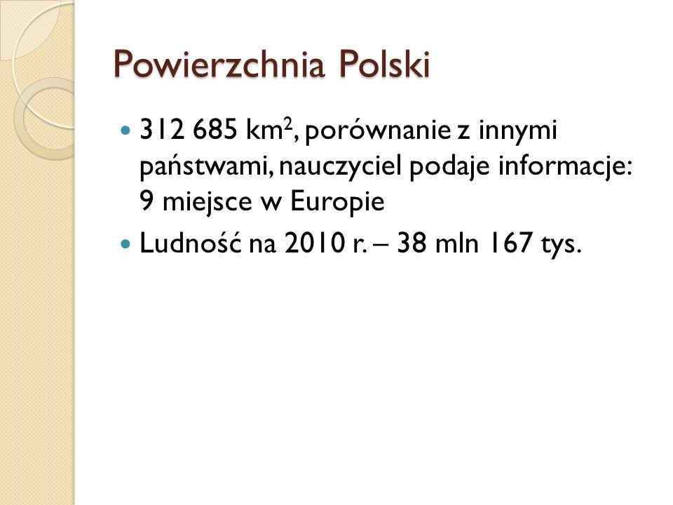 Powierzchnia Polski312 685 km2, porównanie z innymi państwami, nauczyciel podaje informacje: 9 miejsce w Europie.