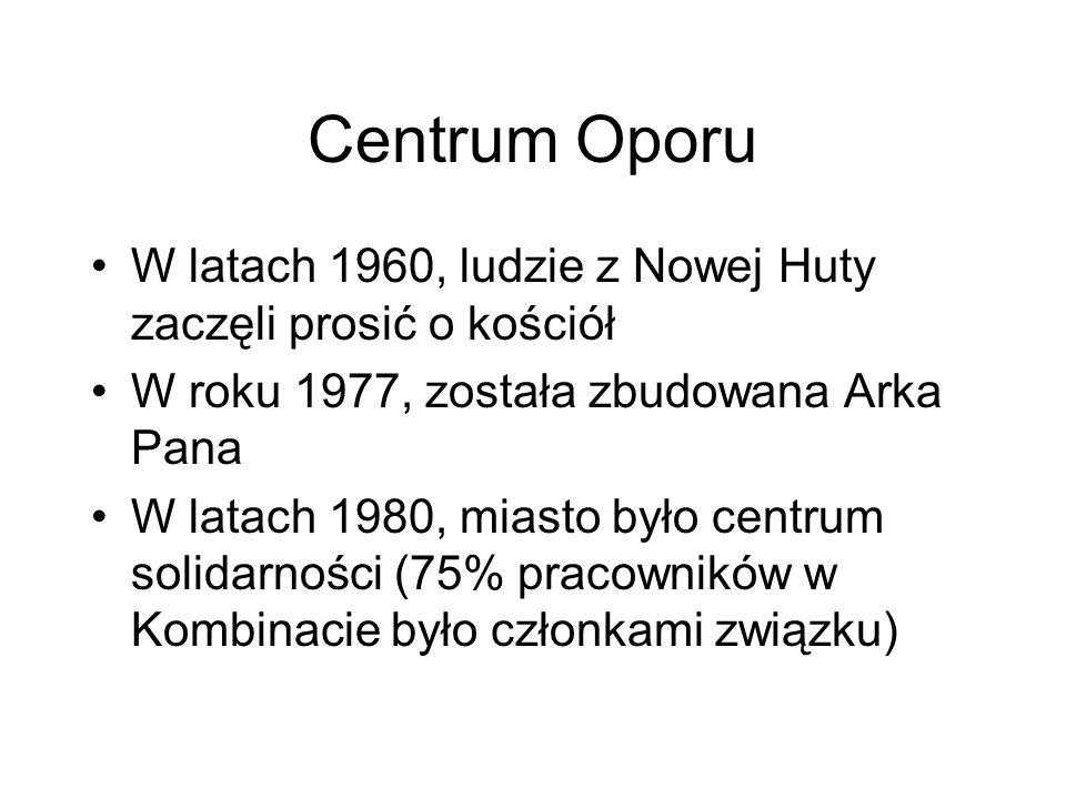 Centrum OporuW latach 1960, ludzie z Nowej Huty zaczęli prosić o kościół. W roku 1977, została zbudowana Arka Pana.