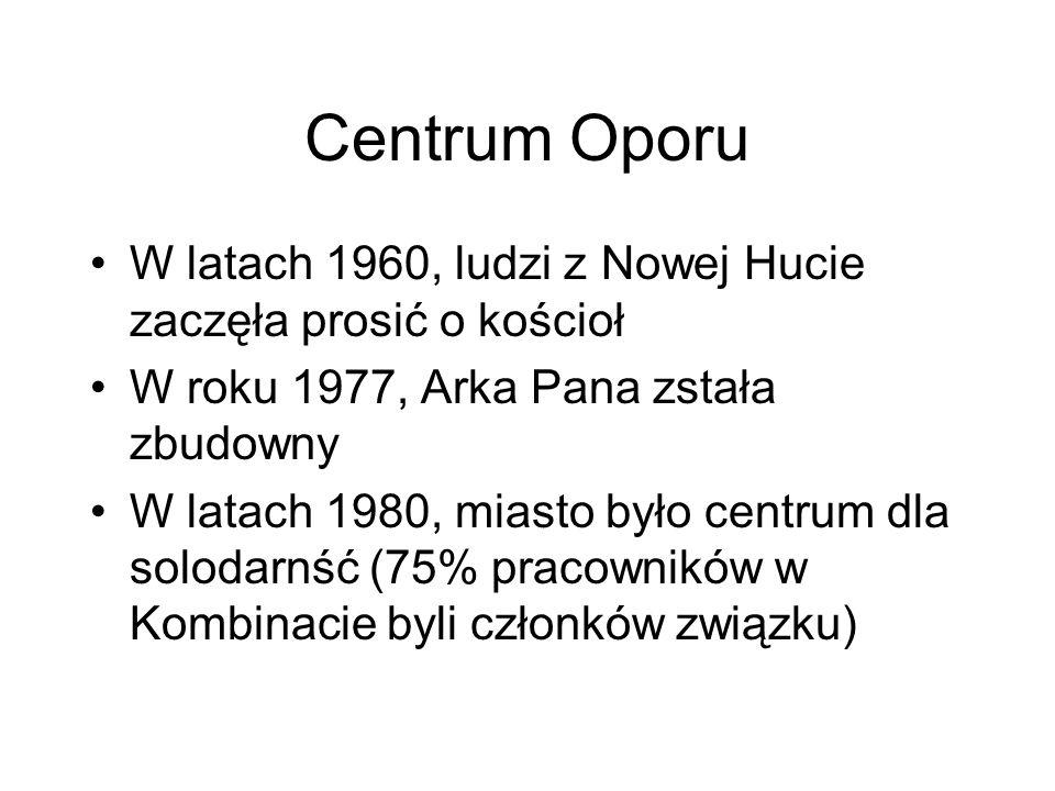 Centrum OporuW latach 1960, ludzi z Nowej Hucie zaczęła prosić o kościoł. W roku 1977, Arka Pana zstała zbudowny.