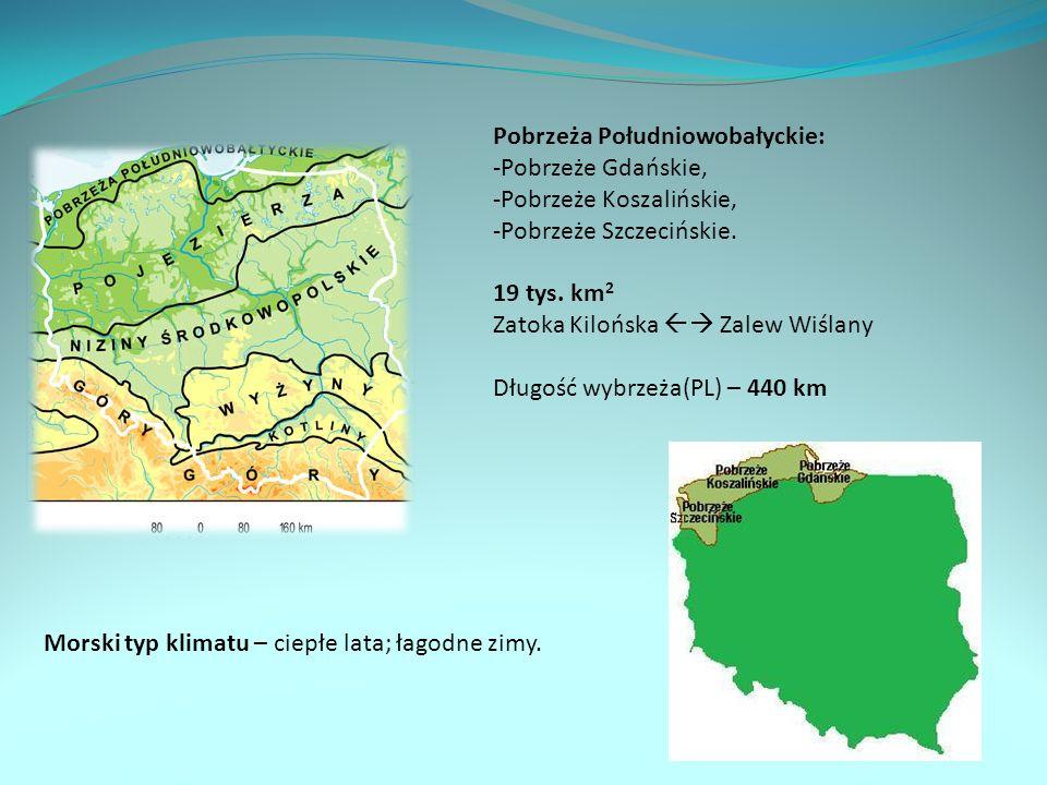 Pobrzeża Południowobałyckie: Pobrzeże Gdańskie, Pobrzeże Koszalińskie,