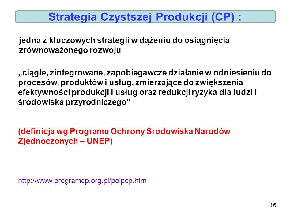 Strategia Czystszej Produkcji (CP) :