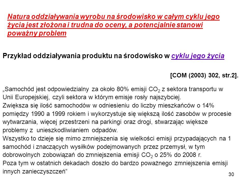 Przykład oddziaływania produktu na środowisko w cyklu jego życia