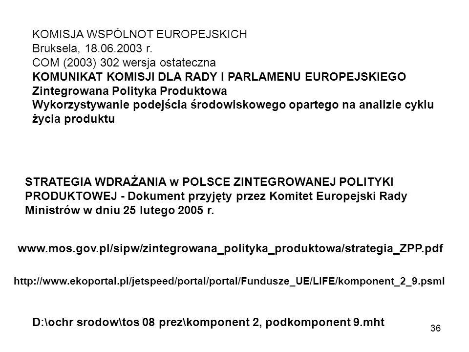 KOMISJA WSPÓLNOT EUROPEJSKICH Bruksela, 18.06.2003 r.