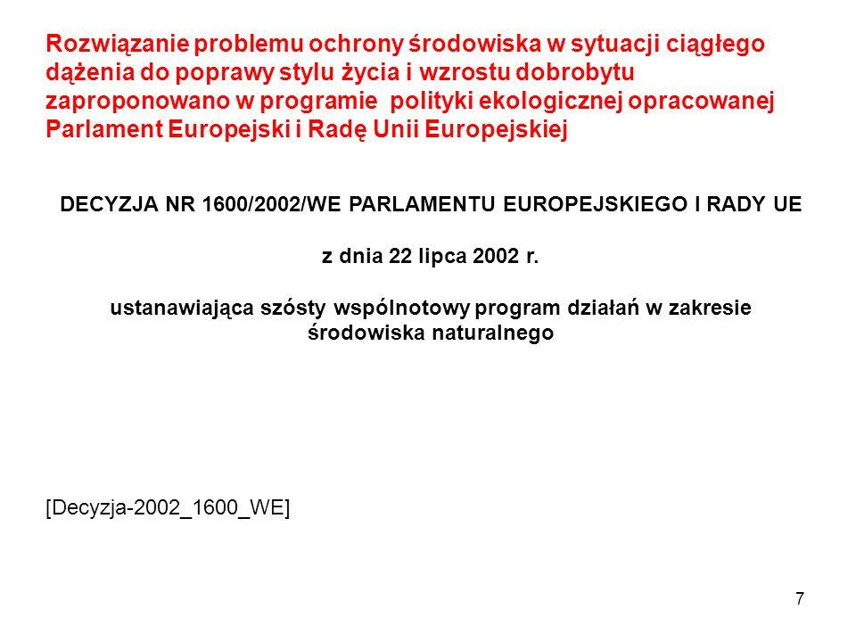 DECYZJA NR 1600/2002/WE PARLAMENTU EUROPEJSKIEGO I RADY UE
