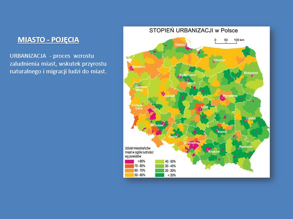 MIASTO - POJĘCIAURBANIZACJA - proces wzrostu zaludnienia miast, wskutek przyrostu naturalnego i migracji ludzi do miast.