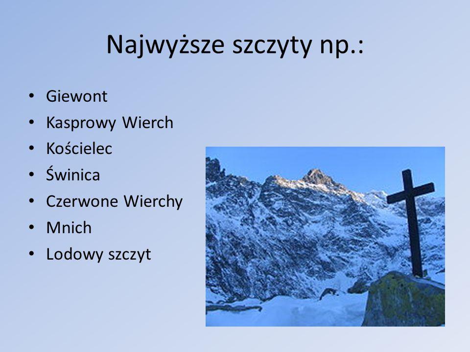 Najwyższe szczyty np.: Giewont Kasprowy Wierch Kościelec Świnica
