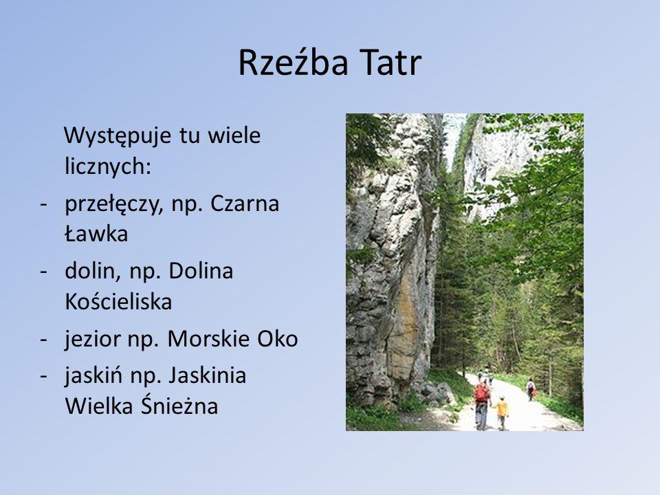 Rzeźba Tatr Występuje tu wiele licznych: przełęczy, np. Czarna Ławka