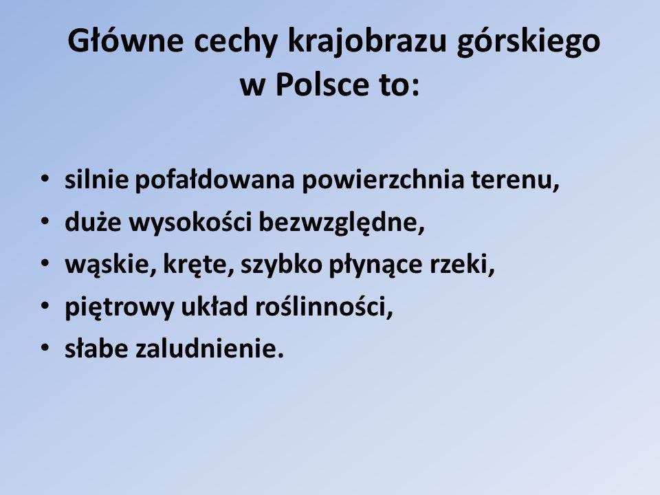 Główne cechy krajobrazu górskiego w Polsce to: