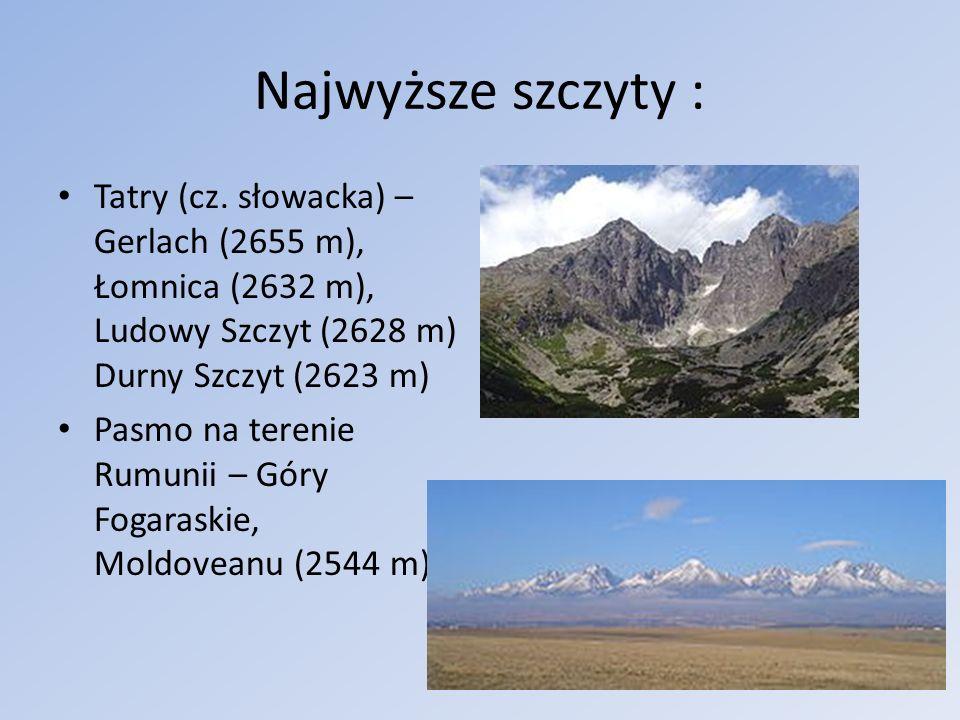 Najwyższe szczyty : Tatry (cz. słowacka) – Gerlach (2655 m), Łomnica (2632 m), Ludowy Szczyt (2628 m) Durny Szczyt (2623 m)